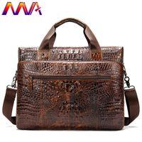 ingrosso valigetta di coccodrillo per le donne-MVA Genuine Leather Cartella Uomo Casual borsa di coccodrillo Leahter `s degli uomini di Crossbody Bag Donna Cartella in pelle Laptop Bag