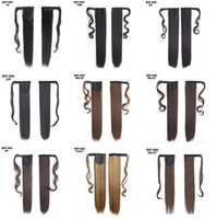 Wholesale long straight drawstring ponytail resale online - 22 quot Long Straight Ponytails for Women Heat Resistant Synthetic Drawstring Fake Hair Pony Tail Extensions