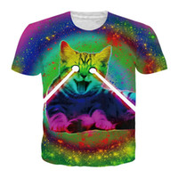 Wholesale cat button fashion for sale - Group buy Galaxy Space Laser Cat New Funny Hot Fashion T shirt D Print Men Womens Unisex Summer Round Collar Short Sleeve Casual Tops Hip Hop K927