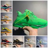 Wholesale mens pu denim resale online - 2019 Paris Triple S FW Crystal Bottom Green Luxury Dad Shoes Platform Triple S Sneakers for Mens Women Vintage Kanye Old Grandpa Trainer