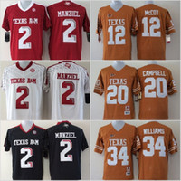 f851bf5573d Youth Texas A&M Aggies 2 Johnny Manziel Jerseys Longhorns 12 Colt McCoy 20  Earl Campbell 34 Ricky Williams Black Red White Yellow Stitched