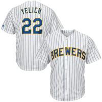robin yount jerseys venda por atacado-Brewers 22 Christian Yelich jersey Milwaukee 19 Robin Yount 8 Ryan Braun 7 Eric Thames venda de topo de beisebol