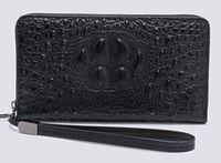 carteira longa crocodilo venda por atacado-Novos Homens longas carteiras de couro duro crocodilo grão casca dura 20 cm Comprimento Cluth carteiras de negócios casuais multi-slots único zíper