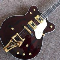 ingrosso fatta per chitarre elettriche-Chitarra elettrica di jazz semi-hollow caldo fabbricato su misura, hardware dell'oro, abitudine
