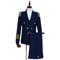 hommes blazers bleu marine achat en gros de-Bleu marine costumes à double boutonnage Hommes 2019 slim fit mens blazer avec pantalon 2 glands du parti glands épaulettes uniformes robe Costumes ensemble