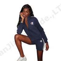 Wholesale girls sets jacket for sale - Group buy Women Champions Letter Tracksuit Long Sleeve Zipper Jacket Hoodies Shorts set CHAMPI Short Pants Outfits Sports Suit Clothes C3283