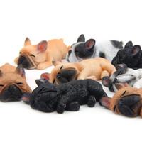 bulldog oyuncakları toptan satış-4 Adet / takım Fransız Bulldog Rakamlar Model Oyuncaklar-Sevimli Simülasyon Köpek Figürinler Oyuncak Çocuklar İçin Hediyeler Araba Ev ...