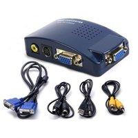 ingrosso av adattatore per computer portatile-Convertitore da convertitore VGA a AV RCA Box per PC Laptop Monitor TV Segnale S-video Supporta sistema PAL NTSC