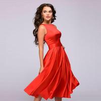 elegantes europäisches amerikanisches kleid großhandel-Europäischen und amerikanischen Retro-Stil knielangen Kleid Sommermode ärmellos elegant A-förmigen Rundhals große Schaukel Taille Party kurzes Kleid