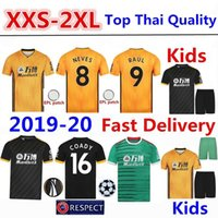 Wholesale kids yellow long sleeve t shirt resale online - Wolverhampton Wanderers Soccer Jersey Tshirt RAÚL Home Kit Wolves Long Sleeve Football Shirt ADAMA T shirt Adult Shirt Mens Kids Kit