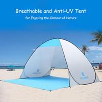 tentes familiales livraison gratuite achat en gros de-Tente de camping automatique bateau de tente de plage RU tente 2 personnes Instant Pop Up Ouvrir Anti UV Auvent Tentes En Plein Air Sunshelter