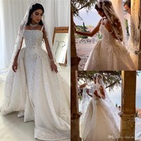 Wholesale attach dress for sale - Group buy 2020 Arabic Luxury Mermaid Wedding Dresses Spaghetti Pearls Sequins Beaded Sheath Bridal Dresses Sparkly Wedding Gowns With Attached Train