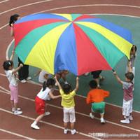 spielzeug gummi sauger großhandel-Wholesale-Big Size 3.6M Spielzeug Sport Spiel Kinder Outdoor Fallschirm Kinder Spiele Regenbogen Regenschirm Fallschirm Spielzeug für Sport Entwicklung
