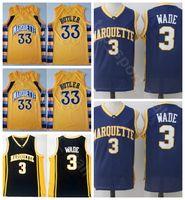 gelbe blaue basketball uniformen großhandel-Herren College Marquette Golden Eagles Trikots Dwyane Wade 3 Basketball 33 Jimmy Butler Team Heim Schwarz Blau Gelb Sportuniform