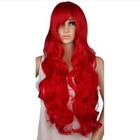 peluca rizada rubia roja al por mayor-Largo rizado cosplay peluca fiesta de disfraces rojo rosa astilla gris rubio negro 70 cm de alta temperatura pelucas de pelo sintético