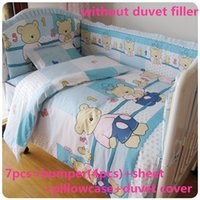 Wholesale bedding free shipping resale online - Promotion baby cot bedding crib set bed linen cotton crib bumper baby cot sets cm