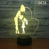 kalp lambalarını seviyorum toptan satış-Sevgililer Günü hediyesi USB şarj lambası 3D Stereo Dokunmatik Işıklar Love Letter Kalp Şekli Dekoratif Gece Ampuller Masa Danışma LED Lamba Hediyeleri