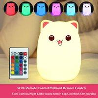 gato, cabeceira, lâmpada venda por atacado-Toque Sensor RGB LED Cat Night Light Remote Control Regulável Silicone USB recarregável Quarto lâmpada de cabeceira para crianças bebê