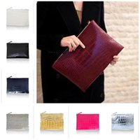 Discount designer envelope clutch bags Fashion Women Clutch Bags Crocodile Alligator Pattern PU Handbag Envelope Bag Outdoor Travel Shoulder Bag Handbags Female Clutches Purse Bag