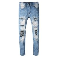 Wholesale mens punk trousers resale online – designer 2019 European and American Style Spring New Fashion Jeans Mens Punk Wind Slim Motorcycle Pants Skinny Jogging Casual Trousers Size