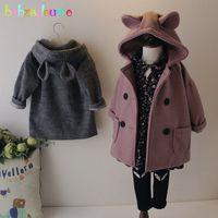 Wholesale korean kids jacket girl resale online - babzapleume T Spring Autumn Children Clothes Korean Fashion Girls Jackets Hooded Cartoon Baby Outerwear For Kids Coats BC1655
