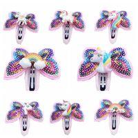 Wholesale rainbow baby hair clips resale online - Unicorn Hairpins Sequin Glitter Baby Girls Hair Clips Girls Bowknot Barrette Kids Hair Boutique Bows Rainbow Horse Headdress GGA2536