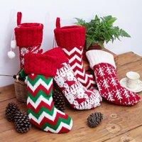 yünlü poşetler toptan satış-Yeni Noel Süsleri Örgü Noel Yün Çorap 5 Stiller Kırmızı ve Beyaz Elk Kar tanesi Çizgili Çocuk Hediye Çanta T3I5334