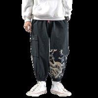 ingrosso pantaloni di harem arancioni neri-Pantaloni larghi stile cargo per uomo modello drago Pantaloni stile giapponese nero splice pantaloni harem design arancione pantaloni hip hop