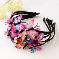ingrosso fascia colorata della farfalla-Fata per ragazze Principessa Fasce per capelli Bambini Fatti a mano Bambini Accessori per capelli a farfalla Ragazze Regali colorati Fascia per designer