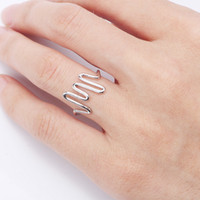 Wholesale silver stretch cuff for sale - Group buy Electrocardiogram shape ECG silver wave ring copper material wave stretch cuff ring silver plated women men unisex jewelry