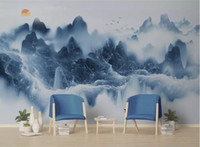 Wholesale background wallpaper landscape for sale - Group buy Custom fashion classic decorative painting wall paper new Chinese ink landscape Marble deer background d wallpaper