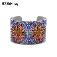 ingrosso bracciali messicani-2019 Nuova pittura messicana Huichol Art bangle Bracciale stile Bohemia per donna e regali braccialetti metallici in alluminio