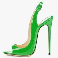 ingrosso scarpe verdi per le donne tacchi alti-Décolleté a punta aperta in pelle verniciata verde Tacchi a spillo Tacchi alti Pompe Scarpe da donna Scarpe da donna con patchwork intagliate personalizzate Tacco alto