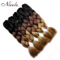 trenzas de dos tonos de color al por mayor-Nicole dos tonos Ombre ganchillo Trenzas Kanekalon pelo trenzas Jumbo extensión sintética del pelo sintético trenzado de cabello para las mujeres más colores
