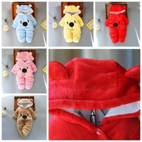 Wholesale hooded animal jumpsuit for babies resale online - Infant Baby Boy Designer Clothes for Newborn Baby Girl Clothing Autumn Winter Girl Dress Girls Snowsuits Cute jumpsuits LXL516
