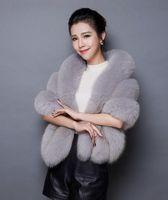 Wholesale hair accessories resale online - New fur big cloak hair bride dress thick warm fur bridesmaid shawl female accessories