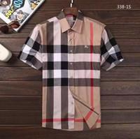 gömlek modasını kontrol et toptan satış-2019 erkek Iş Rahat gömlek erkek kısa kollu çizgili slim fit masculina sosyal erkek T-Shirt yeni moda adam kontrol gömlek # 6872