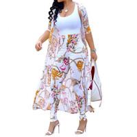 trinchera de verano al por mayor-Conjunto de 2 piezas de verano de las mujeres Cardigan Trench largo y Bodycon Pantalón traje ropa Casual Boho Sexy de dos piezas trajes 2019