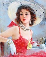 Wholesale oil painting girls portrait for sale - Group buy A High Quality Handpainted HD Print Impressionist Art Beautiful Girl Portrait Art Oil Painting On Canvas Wall Art Home Office Deco p62