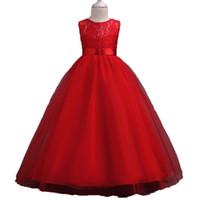 Wholesale ankle designer wedding dresses for sale - Girls Solid Color Dress Round Neck Sleeveless Bow Flower Lace Princess Dress Girls Wedding Infant Designer Dress