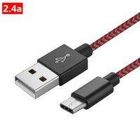 blaue lipo-batterien groihandel-USB Typ C-Kabel USB-C Schnellladegerät Geflochtene Kabel Schnelllade 2.4 schnell Kabel für Samsung, Huawei, LG, TCL