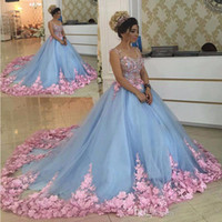 dulce 16 vestidos de niña de las flores al por mayor-Baby Blue 3D Floral Masquerade Ball Gowns 2020 Handmade Flower Debutante Vestidos de quinceañera Sweet Girls 15 16 Years Dress