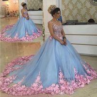 vestidos de baile de mascarada azul al por mayor-Baby Blue 3D Floral Masquerade Ball Gowns 2020 Handmade Flower Debutante Vestidos de quinceañera Sweet Girls 15 16 Years Dress