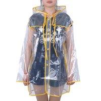 ingrosso signore poncho impermeabile-Cappotto antipioggia trasparente Impermeabile antipioggia in PVC Impermeabile da viaggio Outdoor Pista con cappuccio Poncho Impermeabile da pioggia