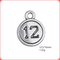 nummer 12 charme großhandel-30 stücke Antike vintage Tibetischen silber nummer 12 münze charme metall baumeln legierung anhänger für halskette armband ohrring diy schmuck machen