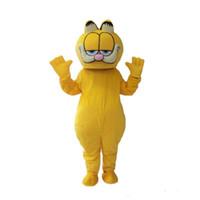 ingrosso personaggi del fumetto gatto giallo-Halloween Garfield Cat Mascot Costume Top Quality Cartoon Yellow Cat Anime personaggio tema Natale Carnevale Costumi del partito