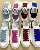Wholesale ladies badminton shoes for sale - Group buy 2020 new Genuine Leather luxurious Designer women s shoes Cowhide White ribbon Followed by flashing casual shoes Ladies fashion travel shoes