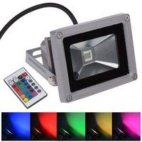 luz de punto llevada rgb impermeable al por mayor-Venta al por mayor RGB 10W LED de luz de inundación AC85-265V LED de iluminación al aire libre Reflector Spot Spot con control remoto impermeable IP65