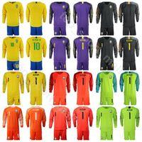 jérsei de futebol personalizado venda por atacado-Homens Brasil Goleiro de Manga Longa de Futebol 1 ALISSON Jersey Set 23 EDERSON 9 Gabriel Jesus Amarelo Roxo Camisa de Futebol Kits Nome Personalizado