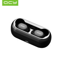 3d musik großhandel-QCY T1 T1C QS1 TWS Drahtloser Bluetooth 5.0 Kopfhörer HiFi Mini 3D Stereo Sound Ohrhörer Bilateraler Anruf Musik Kopfhörer mit Ladekiste